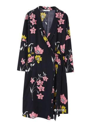 Платье халат на запах цветочный принт