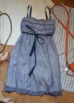 Reserved платье полосатое в полосочку легкое летнее на бретель...