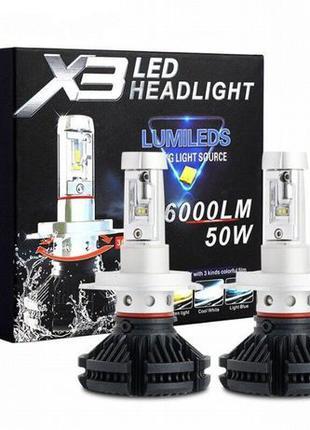 Автомобильные LED лампы Х3 H7. Лампы в фары дальний или ближни...