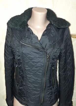 Куртка стеганая на синтепоне косуха авиатор автоледи демисезон