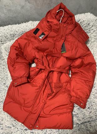 Куртка пуховик оверсайз красная