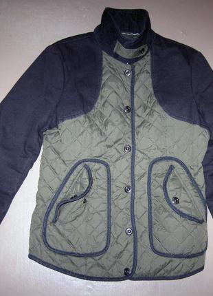 Короткая женская стеганая деми куртка next р.46 хлопковая весн...