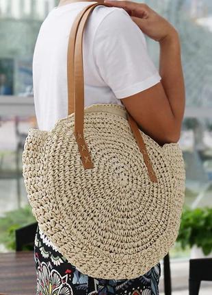 Пляжна плетена сумка • пляжная плетёная сумка полумесяц