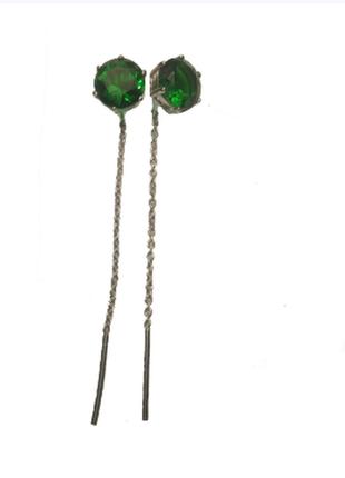Серьги-протяжки из серебра с покрытием из родия с фианитом цве...