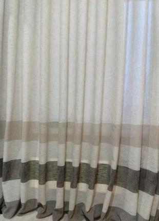 Тюль лен пепельного цвета с декоративными полосами по низу.