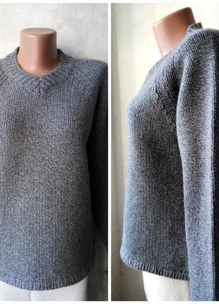 Укороченный свитер из шерсти, прямой крой, реглан, оверсайз, и...