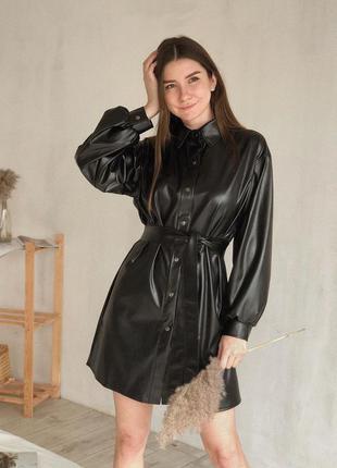 Черное кожаное платье рубашка базовое женское матовая кожа