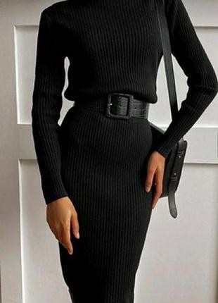 Платье гольф черное в рубчик лапша тренд atmosphere