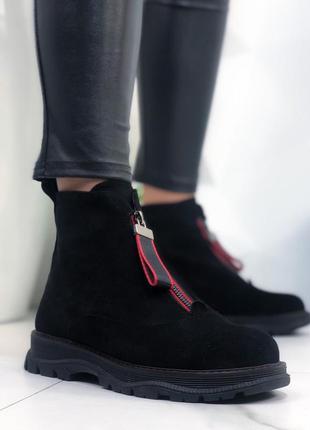 ❤ женские черные весенние демисезонные  ботинки ботильоны на ф...