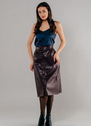 Классная юбка миди из эко-кожи, кожаная юбка
