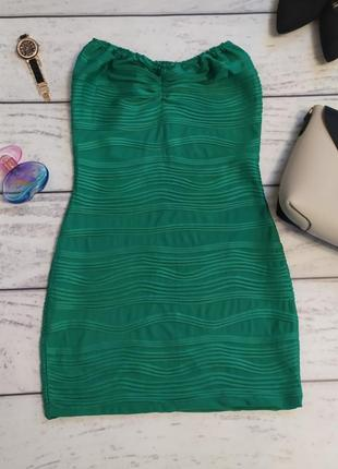 Платье мини зеленого цвета бюстье, бандо, s