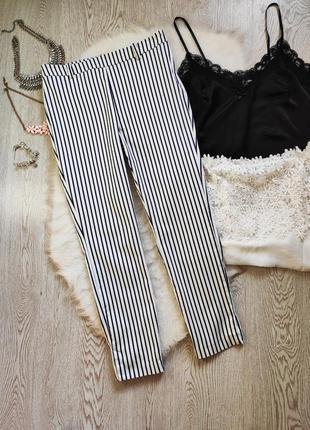Белые кроп штаны брюки в синюю вертикальную полоску высокая та...