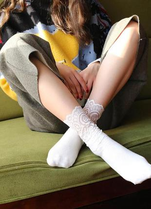 Кружевные красивые женские носки, нарядные гольфы ажурные белые