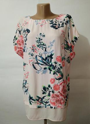 Блуза красивая в цветочный принт большой размер f&f uk 18/46/xxl