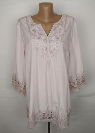 Блуза розовая шикарная с кружевом большой размер uk 18/46/xxl