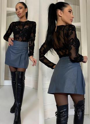 Шикарная стильная юбка из кож. зама