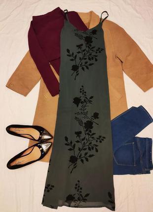 Платье серое с чёрными цветами длинное в пол макси шифоновое v...
