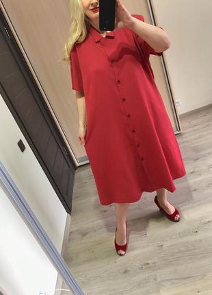 Терракотовое натуральное прямое платье рубашка р.24