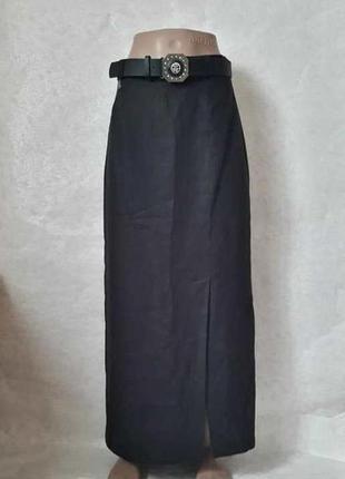 Новая шикарная юбка в пол в чёрном цвете со 100% льна с пояско...