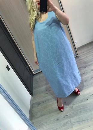 Натуральное прямое платье принт кружево р.26