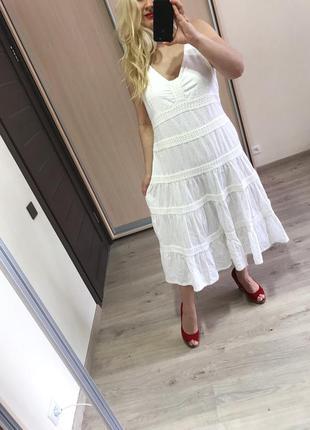 Натуральное молочное платье с прошвой р.18