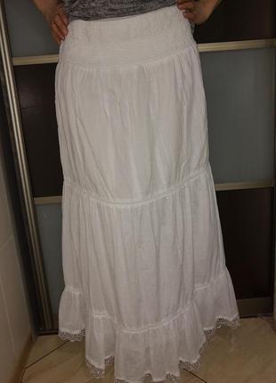 Длинная юбка женская летняя белая
