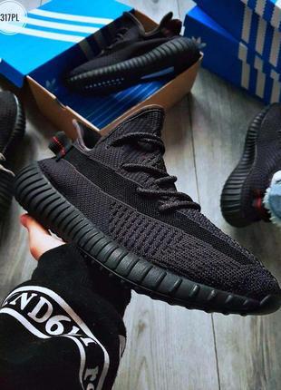 Adidas yeezy boost 350 black, кроссовки мужские адидас черные