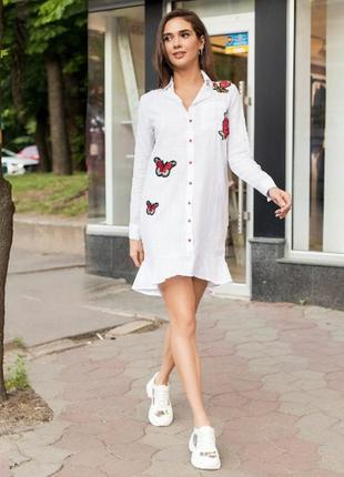 Платье-рубашка с баской и бабочками