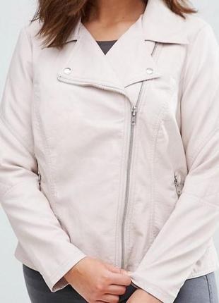 Куртка косуха кожанка бежевая батал большой размер uk 30