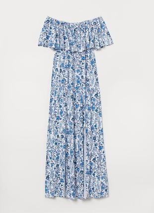 Платье сарафан с открытыми плечами вискоза и разрезами воланом