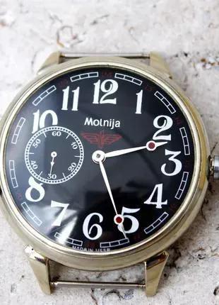 Часы механические наручные Молния 3602 СССР Мельхиор Паровоз