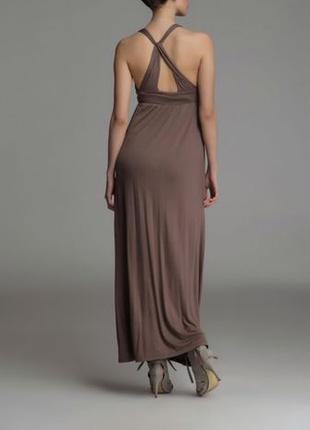 Элегантное кофейное платье в пол с открытой спиной / сарафан