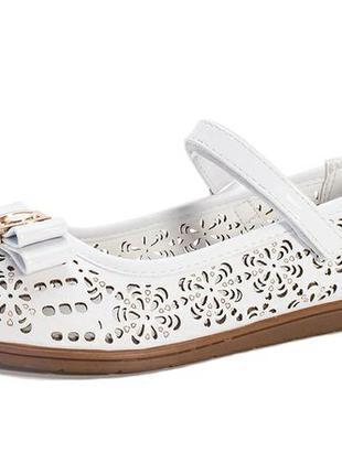 Белые туфли-лодочки с супинатором, кожа, д/девочки 6,7,8 лет р...