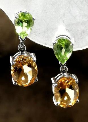Серебряные серьги с натуральным камнями