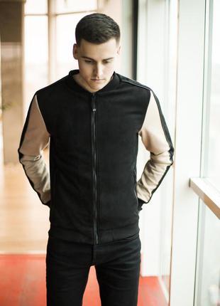 Куртка pobedov bomber molodost black and beige