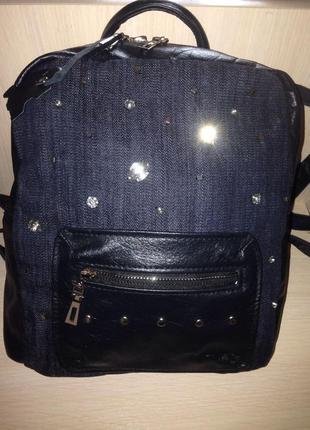 Рюкзак из натуральной кожи и джинса katrin