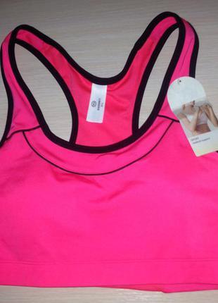 Спортивный бюстгальтер розовый с черным топ