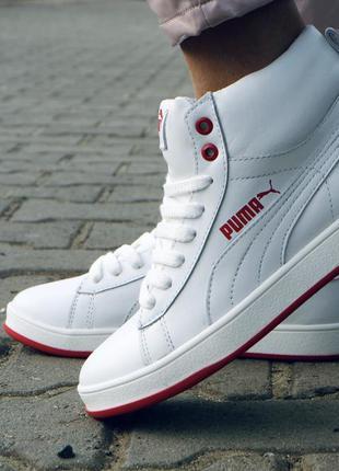 Женские кожаные зимние ботинки кеды кроссовки