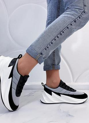 Серые спортивные кроссовки на платформе,серо-чёрные текстильны...