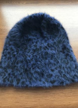 Синяя с чёрным женская ангоровая шапка Bik Bok