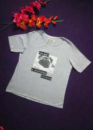 Классная хлопковая футболка серый меланж с рисунком love dream.