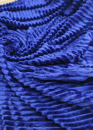 Велюровое покрывало полоски евро размер 220*220см синий