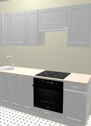 Кухня 2,2 метра, белая прямая