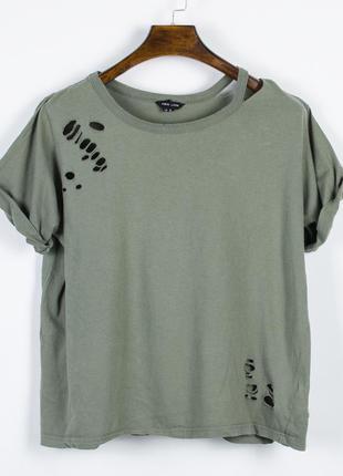Женская футболка рваная, стильная футболка оверсайз, футболка ...