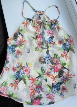 Яркая блуза bershka xs/s блузка шифоновая цветочный принт