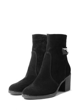 Демисезонные замшевые женские полусапожки ботинки на молнии ус...