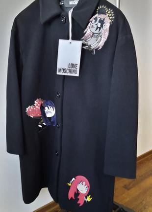 Новое шерстяное пальто love moschino оверсайз пайетки аппликац...
