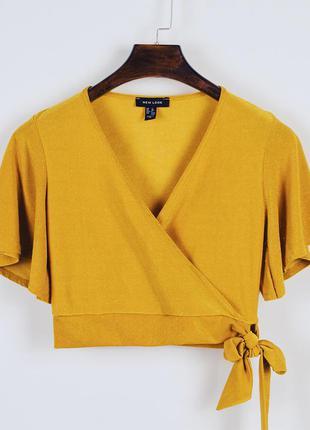 Горчичный топ, кроп топ, блузка блуза, короткая блузка нарядна...