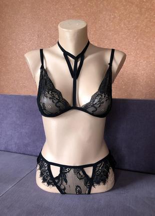 Крутой секси кружевной, гипюровый комплект