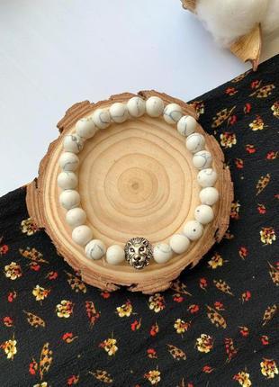 Мужской браслет из натурального камня лев белый
